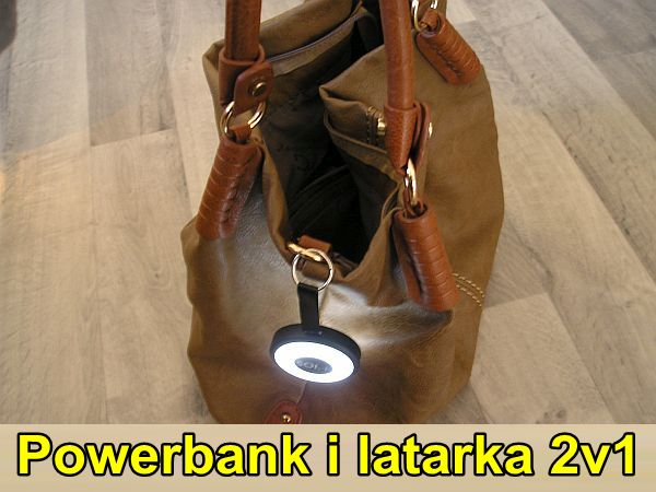 USB latarka z powerbankiem do toreb damskich