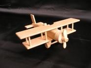 Duży drewniany dwupłatowiec zabawka