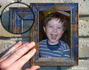 13x18 drewniana ramka na zdjęcia, niebieski