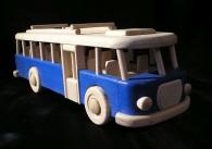 Autobus niebieska drewniana zabawka