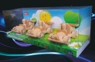 3 samochody wyścigowe, zabawki z drewna