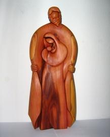 Rodzina - Boże, Święty Maryja i Jezus, drewniana statua