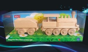 Parowóz zabawki z drewnia v opakowaniu