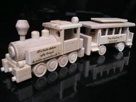 Lokomotywa i wagon pasażerski, zabawka