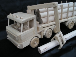 Ciężarówka z przyczepą, leśnictwo drewna, zabawka prezent