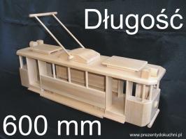 Wielki historyczny tramwaj, zabawka z drewnia.
