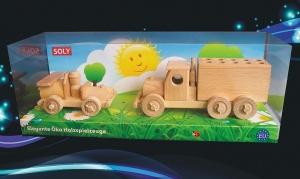 Autko i ciężarówka (pen stand) z drewna, zabawka