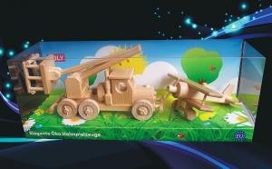 Platforma i samolot, zabawki z drewnia