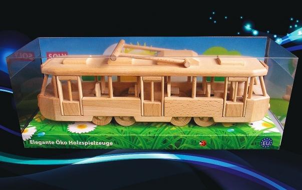 Nowoczesny drewniany tramwaj TATRA T zabawka