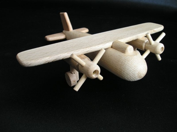 Drewniany samolot, 2x obracające śmigła, zabawka