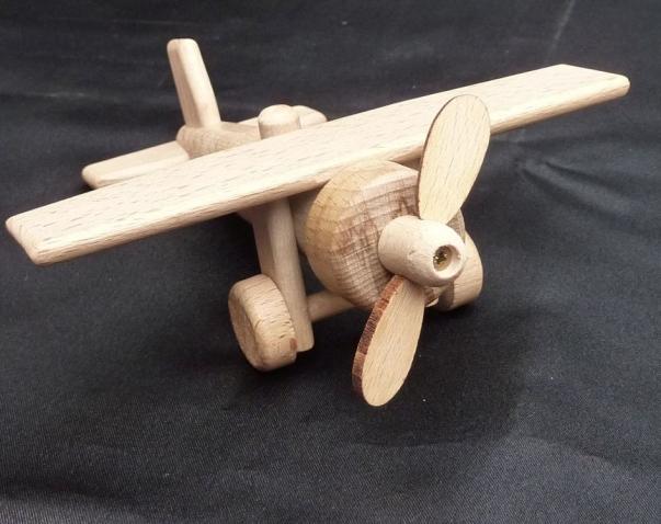 Drewniany samolot, 1x obracające śmigła, zabawka