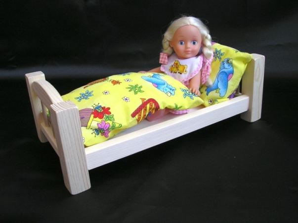 Łóżko drewniane dla lalek, zabawka