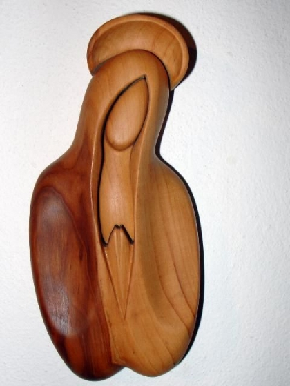 Madonna z halo, rzeźba drewna