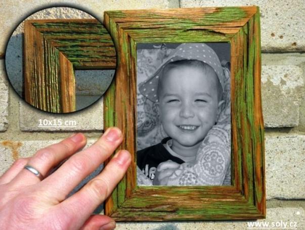 10x15 cm pastel zielony. Retro drewniane ramki na zdjęcia