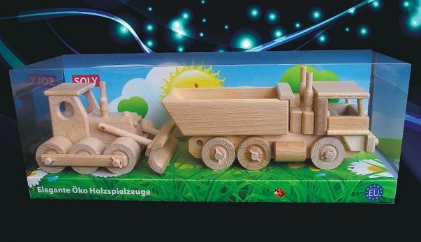 Spycharek i ciężarówka, zabawki z drewna