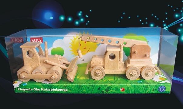 Spycharek i żuraw z drewna, zabawki