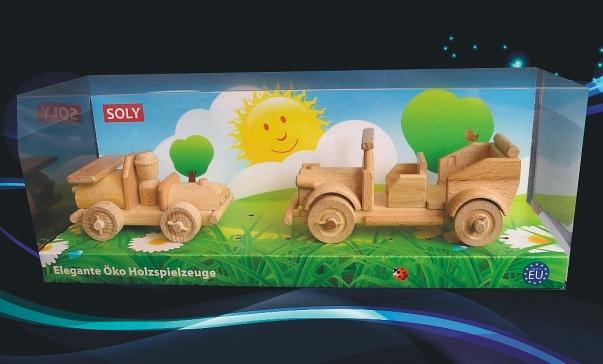 Samochód sportowy, weteran samochód z drewna, zabawki