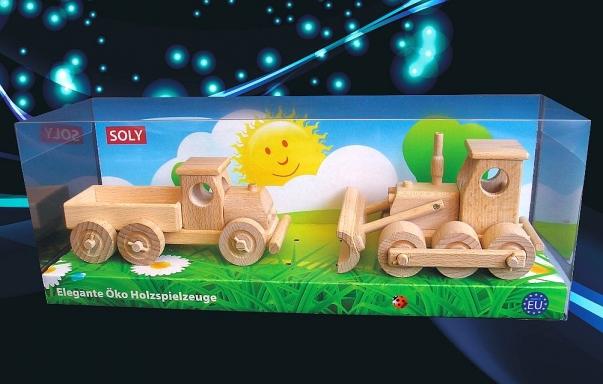Spychacz i ciężarówki z drewna, zabawki