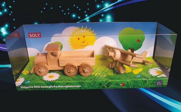 Ciężarówka i samolot z drewna, zabawka