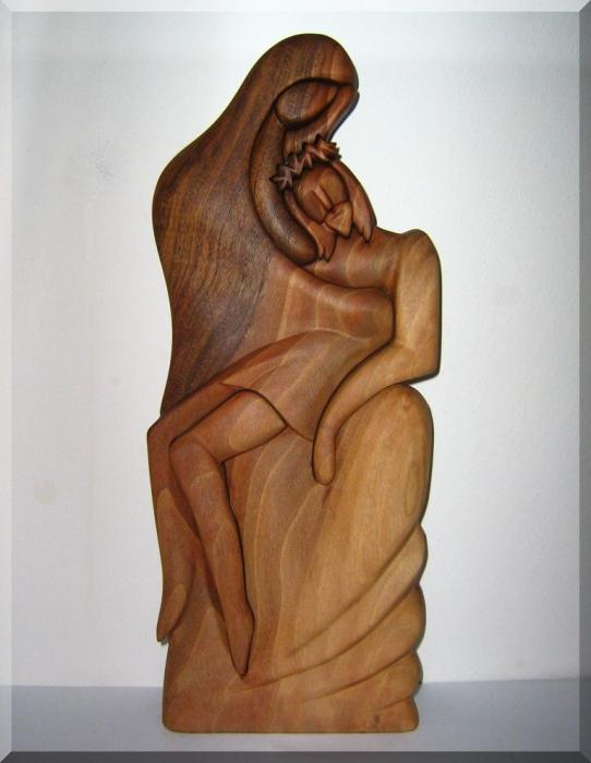 Pobożność, Bóg, Jezus i Maria Rzeźba figury z drewna