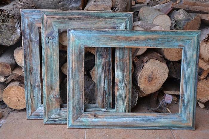 Drewniana ramka niebieska