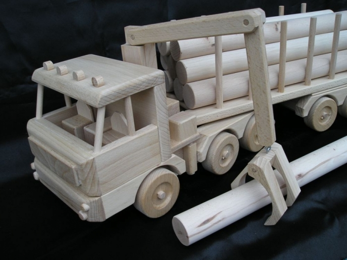 Ciężarówka, ciężarówka z przyczepą, leśnictwo drewna, zabawka prezent