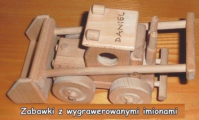 Ladowarka z drewnia zabawka